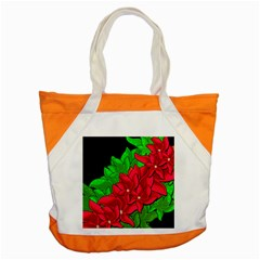 Xmas Red Flowers Accent Tote Bag by Valentinaart