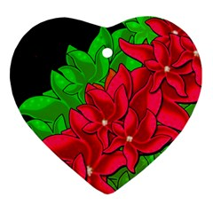 Xmas Red Flowers Heart Ornament (2 Sides) by Valentinaart