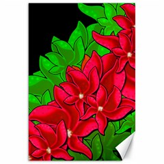 Xmas Red Flowers Canvas 20  X 30   by Valentinaart