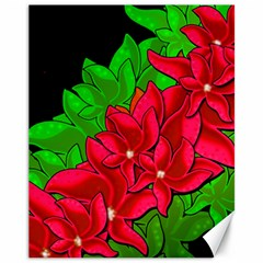 Xmas Red Flowers Canvas 11  X 14   by Valentinaart