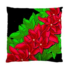 Xmas Red Flowers Standard Cushion Case (one Side) by Valentinaart