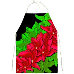 Xmas Red Flowers Full Print Aprons by Valentinaart