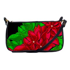Xmas Red Flowers Shoulder Clutch Bags by Valentinaart