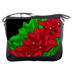 Xmas Red Flowers Messenger Bags by Valentinaart