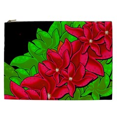 Xmas Red Flowers Cosmetic Bag (xxl)  by Valentinaart
