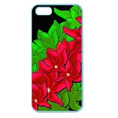 Xmas Red Flowers Apple Seamless Iphone 5 Case (color) by Valentinaart