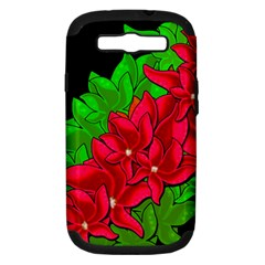 Xmas Red Flowers Samsung Galaxy S Iii Hardshell Case (pc+silicone)