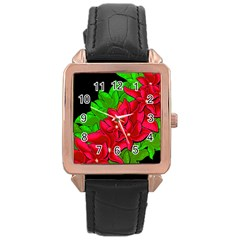 Xmas Red Flowers Rose Gold Leather Watch  by Valentinaart