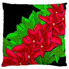 Xmas Red Flowers Large Flano Cushion Case (two Sides)