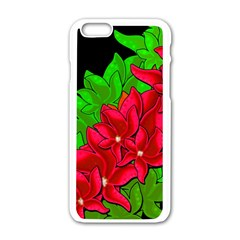 Xmas Red Flowers Apple Iphone 6/6s White Enamel Case by Valentinaart