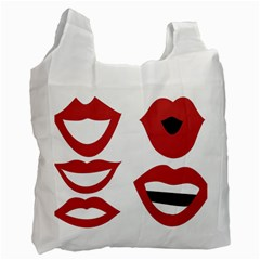 Lip Sexy Red Recycle Bag (two Side)  by AnjaniArt