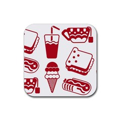Mad Ice Ernies Tea Bred Rubber Square Coaster (4 Pack)  by AnjaniArt