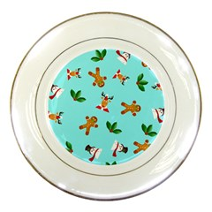 Pattern Merry Christmas Gingerbread Reindeer Man Snowman Holly Porcelain Plates