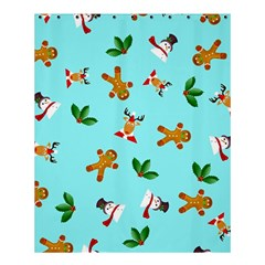 Pattern Merry Christmas Gingerbread Reindeer Man Snowman Holly Shower Curtain 60  X 72  (medium)  by AnjaniArt