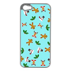 Pattern Merry Christmas Gingerbread Reindeer Man Snowman Holly Apple Iphone 5 Case (silver)
