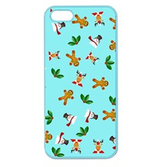 Pattern Merry Christmas Gingerbread Reindeer Man Snowman Holly Apple Seamless Iphone 5 Case (color) by AnjaniArt