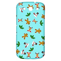 Pattern Merry Christmas Gingerbread Reindeer Man Snowman Holly Samsung Galaxy S3 S Iii Classic Hardshell Back Case