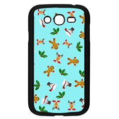 Pattern Merry Christmas Gingerbread Reindeer Man Snowman Holly Samsung Galaxy Grand Duos I9082 Case (black) by AnjaniArt