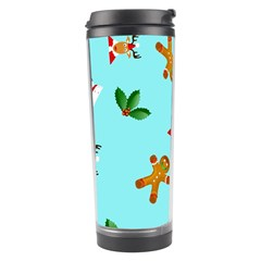 Pattern Merry Christmas Gingerbread Reindeer Man Snowman Holly Travel Tumbler by AnjaniArt