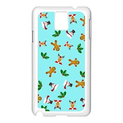 Pattern Merry Christmas Gingerbread Reindeer Man Snowman Holly Samsung Galaxy Note 3 N9005 Case (white)