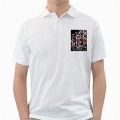 Red Abstract Flowers Golf Shirts by Valentinaart