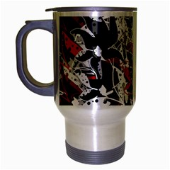 Red Abstract Flowers Travel Mug (silver Gray) by Valentinaart