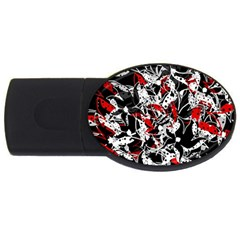 Red Abstract Flowers Usb Flash Drive Oval (4 Gb)  by Valentinaart