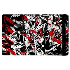 Red Abstract Flowers Apple Ipad 3/4 Flip Case by Valentinaart