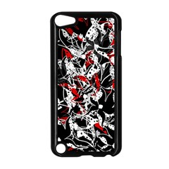 Red Abstract Flowers Apple Ipod Touch 5 Case (black) by Valentinaart