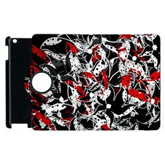 Red Abstract Flowers Apple Ipad 3/4 Flip 360 Case by Valentinaart
