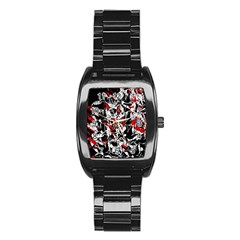 Red Abstract Flowers Stainless Steel Barrel Watch by Valentinaart
