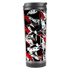 Red Abstract Flowers Travel Tumbler by Valentinaart