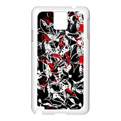 Red Abstract Flowers Samsung Galaxy Note 3 N9005 Case (white) by Valentinaart
