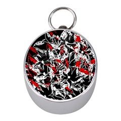 Red Abstract Flowers Mini Silver Compasses