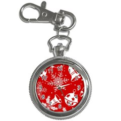 Red Winter Holiday Pattern Red Christmas Key Chain Watches by AnjaniArt