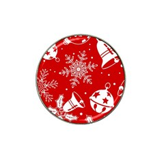 Red Winter Holiday Pattern Red Christmas Hat Clip Ball Marker (10 Pack) by AnjaniArt