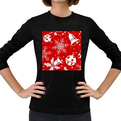 Red Winter Holiday Pattern Red Christmas Women s Long Sleeve Dark T Shirts