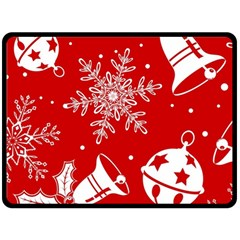Red Winter Holiday Pattern Red Christmas Fleece Blanket (large)  by AnjaniArt