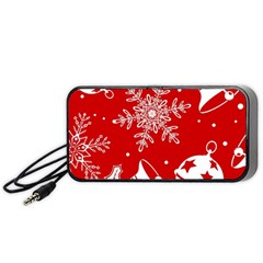 Red Winter Holiday Pattern Red Christmas Portable Speaker (black)  by AnjaniArt