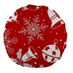 Red Winter Holiday Pattern Red Christmas Large 18  Premium Round Cushions by AnjaniArt