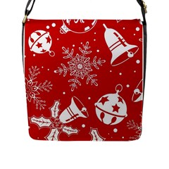 Red Winter Holiday Pattern Red Christmas Flap Messenger Bag (l)  by AnjaniArt