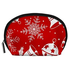 Red Winter Holiday Pattern Red Christmas Accessory Pouches (large)  by AnjaniArt