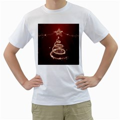 Shiny Christmas Tree Men s T Shirt (white) (two Sided)