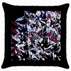 Decorative Abstract Floral Desing Throw Pillow Case (black) by Valentinaart