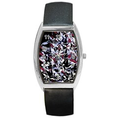 Decorative Abstract Floral Desing Barrel Style Metal Watch by Valentinaart