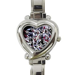 Decorative Abstract Floral Desing Heart Italian Charm Watch by Valentinaart