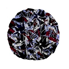 Decorative Abstract Floral Desing Standard 15  Premium Round Cushions by Valentinaart