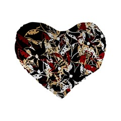 Abstract Floral Design Standard 16  Premium Heart Shape Cushions by Valentinaart