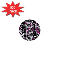 Purple Abstract Flowers 1  Mini Buttons (100 Pack)