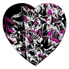 Purple Abstract Flowers Jigsaw Puzzle (heart) by Valentinaart